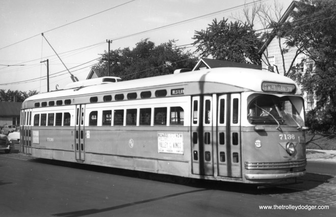 """The caption on this picture of CTA 7136, taken in August 1954, says it is at the end of the Western Avenue line, but does not say which end. George Trapp writes, """"I believe car 7136 is a pull out from Devon Depot slightly north of the Berwyn loop, pull outs did carry passengers."""" Another reader says this car is southbound on Western at Winona, which is one block south of Foster (and a few blocks south of the Berwyn loop)."""