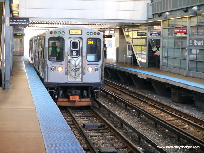 Our Yellow Line train is finally ready to head back to Skokie.