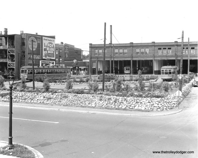 """CSL 3362 and 3327. A view of the Clark-Schreiber loop, looking west from Ashland and Arthur. George Trapp writes, """"The Schreiber loop was the loop via Ravenswood and Schreiber along the South side of the car barn yard generally used by Broadway-State cars after PCC's replaced the 169 class and the route cut back from Kedzie in Dec. 1947."""" (Chicago Surface Lines Photo, Krambles-Peterson Archive)"""