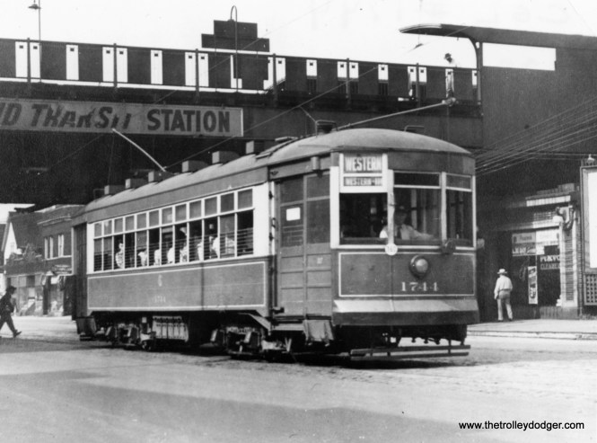 """Geroge Trapp writes, """"Car #1744 (is) on Western at Ravenswood """"L"""" just south of Leland."""" This station was completely rebuilt circa 1979-81."""