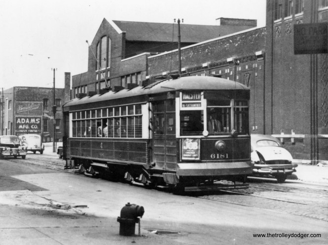 "CSL 6181, southbound on Halsted. Michael D. Franklin adds, ""This picture shows 6181 heading south on Larrabee St between Crosby St and Kingsbury Street. Building with 'Adams Mfg. Co.' is still standing at 907 N. Larrabee Ave."""