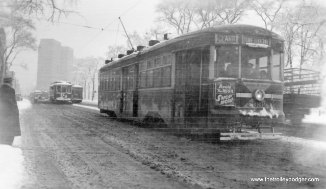 As winter approaches, we bid you adieu with this snowy scene showing CSL Peter Witt (aka Sedan) 3332 heading south on Clark at at Menomonee near Lincoln Park; note snow plow behind Sedan with wing extended. (Edward Frank, Jr. Photo)