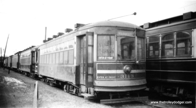 """CSL 3113, signed for 93rd and Drexel. M. E. writes: """"The destination 93rd and Drexel (900 east) is a block east of Cottage Grove Ave. According to Wikipedia, """"Burnside car barn at 93rd and Drexel is still basically intact."""" So Cottage Grove cars and 93rd/95th cars could be signed for 93rd and Drexel. (It) seems to be in the carbarn at that location."""""""