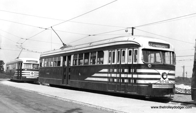 """CSL prewar cars 4042 and 7029, in """"tiger stripes,"""" are at the loop at 63rd Place and Narragansett, western terminal of the 63rd Street line."""
