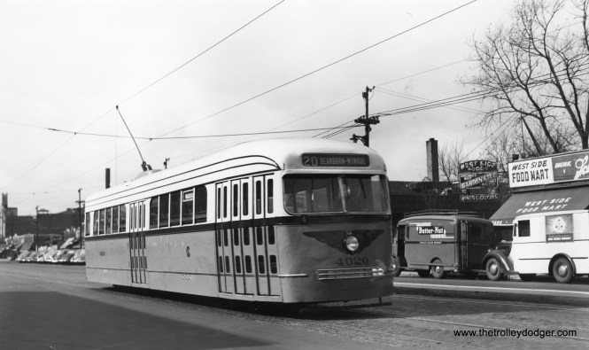 4020, in experimental colors, is eastbound on Madison Street between Parkside and Central circa 1946. (Robert W. Gibson Photo)