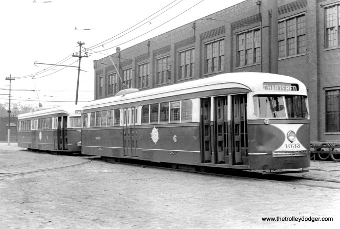 CSL 4033 and 7002 on 78th Street by South Shops on October 23, 1938, during a fantrip. Although sponsored by the Chicago Surface Lines, this trip helped recruit many members to the fledgling Central Electric Railfans' Association. (M. D. McCarter Collection)