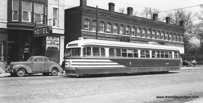 CSL 4027 at 64th and Stony Island, east end of the 63rd Street line. Again, at left, we have a 1940s business coupe. This Joe L. Diaz photo was taken at the same time as some others we previously posted here: http://thetrolleydodger.com/2015/10/12/more-chicago-pcc-photos-part-four/