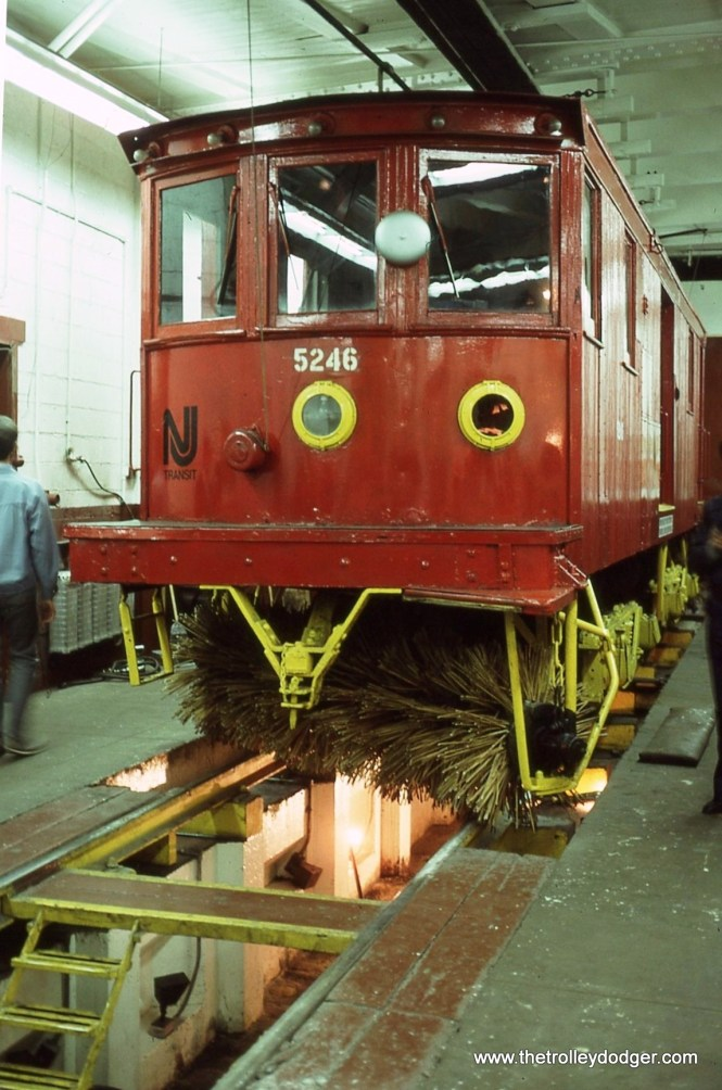 Snow sweeper #5246 in the shop area of Penn Station. Number 5426 was built by Russell in 1921. It was built for the Trenton & Mercer County, Trenton Transit as number 51.