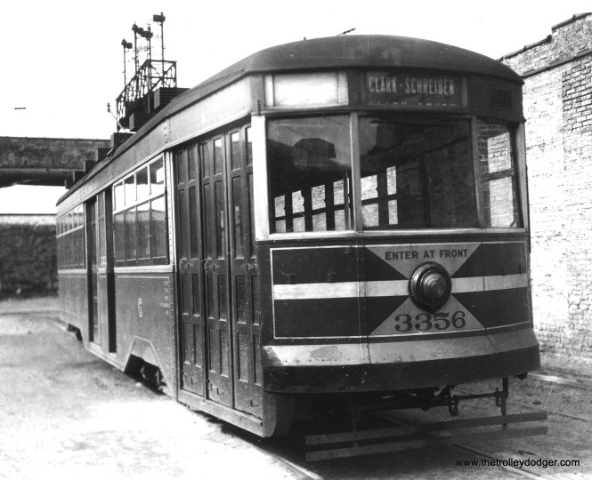 CSL 3356 at the Devon car barn (station). (Krambles-Peterson Archive)