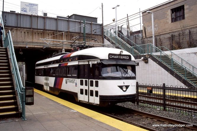 "NJT PCC all electric PCC 1 at Norfolk Street Station ""chartered"" for a fan trip."