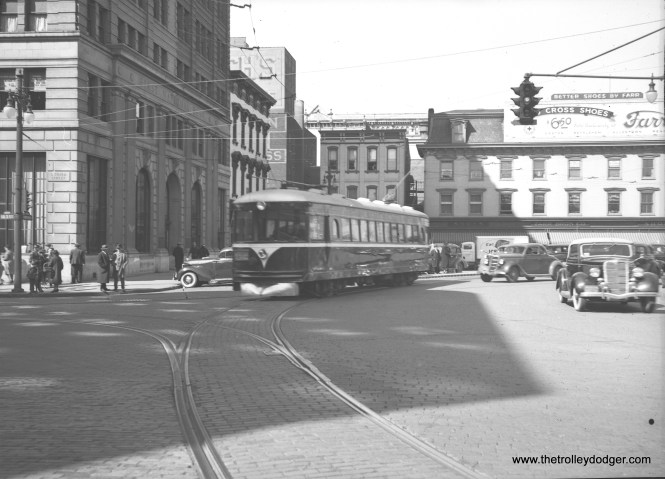 An LVT 1100-series lightweight interurban, still looking shiny, in the Easton town square circa 1939. These Cincinnati curved-side cars were built in 1929 for the Dayton & Troy. They were repossessed in 1932 and remained at the Cincinnati Car Company plant until sold to LVT in 1938. After the Easton Limited was bussed in 1949, two of the four cars were sold to Speedrail in Milwaukee, where one operated briefly as car 66. Unfortunately all four cars were scrapped.