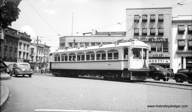 "LVT 812 in the Easton town circle on June 30, 1947, making a rare appearance on LVT's ""other"" interurban, the Easton Limited by way of a fantrip. (James Maloney, Jr. Photo)"