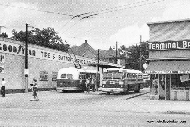 A 1960 CTA photo of the Grand and Nordica off-street bus loop. Route 65 - Grand trolley buses began operating from here in 1951, as did route 90 - Harlem buses. 74B West Fullerton buses began using the loop on December 12, 1955.