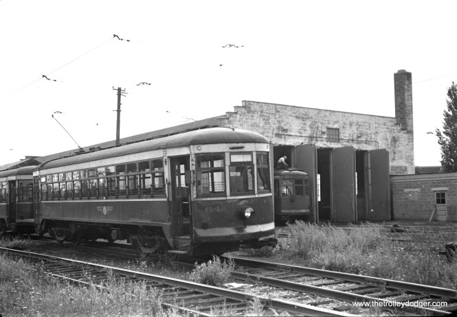 """Rochester Transit 64. Don's Rail Photos says, """"64 was built by Cincinnati Car Co in February 1917, (order) #2130, as NYSR 64. It was served at Utica and transferred to Rochester. It became RTCo 64 in 1937."""""""