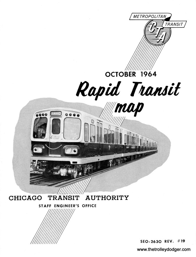 The October 1964 CTA rapid transit track map joins the June 1958 version in two of our publications.
