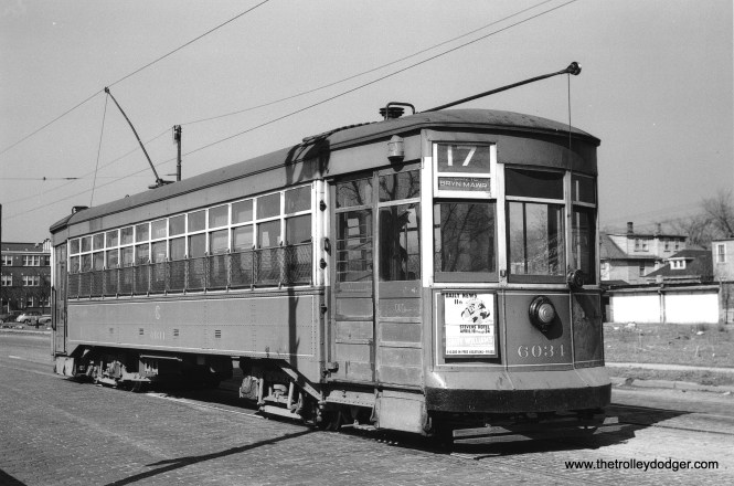 CTA 6034 is at Kedzie and Bryn Mawr, the north end of route 17, on April 16, 1949. (John F. Bromley Collection)