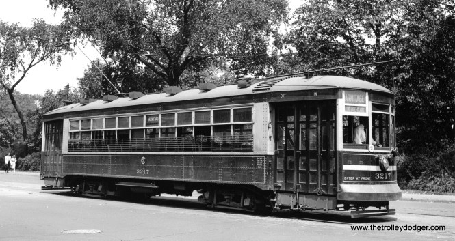 "CSL 3217 is on route 73 - Armitage on July 1, 1946. (John F. Bromley Collection) Andre Kristopans: ""EB passing Mozart Park at Armitage and Avers."""