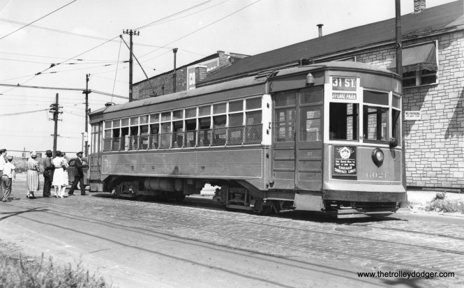 "CSL 6021 at Archer and Pitney Court on September 6, 1947. To paraphrase Don's Rail Photos, It was ""built by Brill Car Co in July 1914, (job) #19450. It was rebuilt as one-man in 1945 and restored as two-man in 1946."""