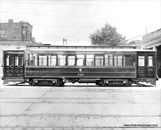 "CSL 922, probably circa 1915. This was known as a ""Little"" Pullman and was built in 1910. (Seth Bramson Collection) Andre Kristopans: ""922 – very early shot indeed. Note car is still in all green, not red and cream. Also note a date that looks like ""3-22-15""? date painted on panel under front door. I imagine this is a paint date. Also note car has no side route signs. It is sitting at West Shops."""