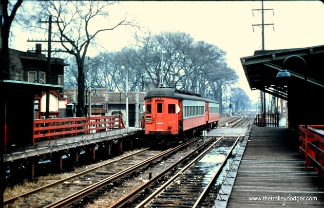 5th Avenue, Maywood, March 6, 1958. Notice how the platform extensions have been flipped up to accommodate freight trains. (Robert W. Gibson Photo, Mark Llanuza Collection)