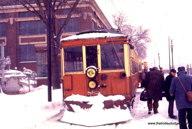 """Don's Rail Photos says Milwaukee electric car 882 """"was built by St Louis Car Co in 1920, (order) #1239. It was one manned in 1926 and rebuilt in 1954 with a plow on one end and a pilot on the other for use at the Lakeside Power Plant of WEPCo. It also had interurban headlights added. It ran until May 8, 1961."""" Unfortunately, it does not appear this car was saved."""