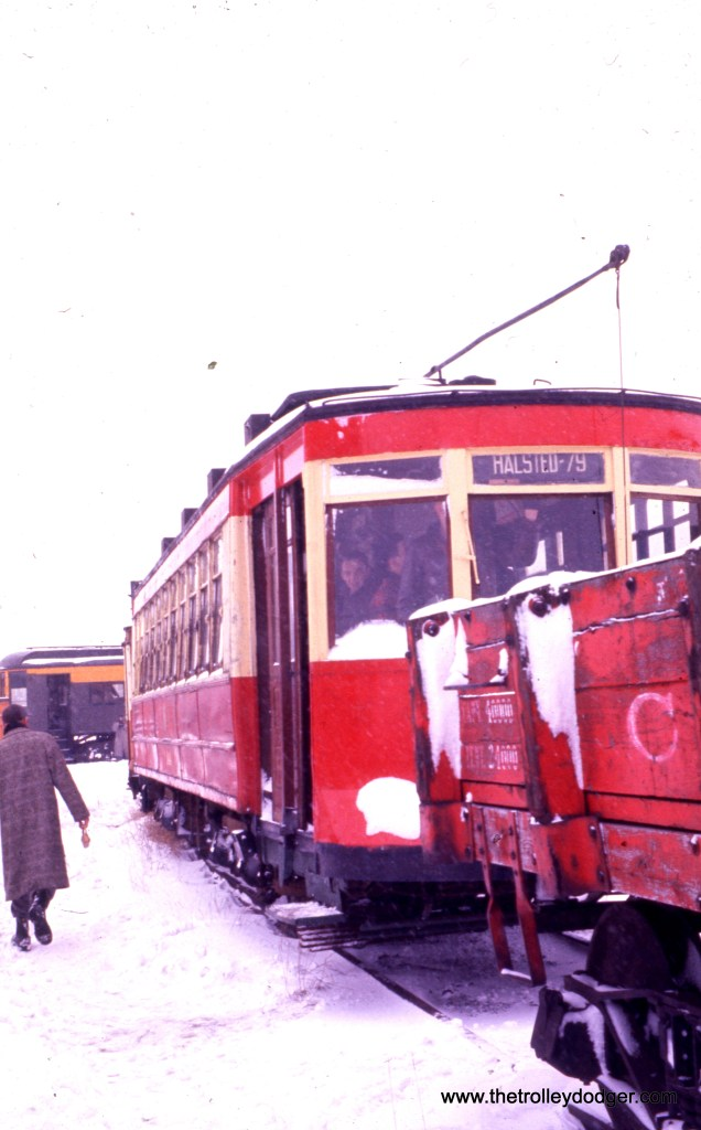 A snowy view of the 144 in February 1960, less than two years after this car last ran on the streets of Chicago (in a May 1958 fantrip).
