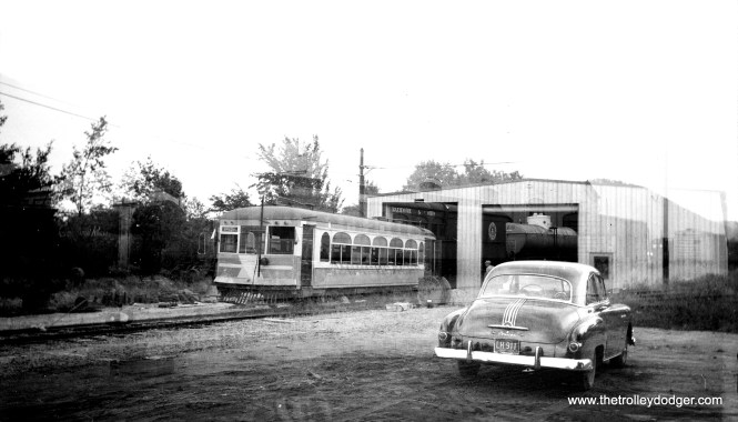 Columbia Park and Southwestern 306, ex-Aurora, Elgin & Fox River Electric, ex-Shaker Heights Rapid Transit, at Gerald E. Brookins' Trolleyville USA in 1962. Electric operations appear to be underway already, or nearly so.