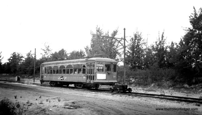 """Don's Rail Photos says, """"306 was built by St Louis Car in 1924, #1306. In 1936 it was sold to CI/SHRT as 306 and in 1954 it was sold to CP&SW as 306. It was transferred to the Illinois Railway Museum in 1984 where it is being restored as AE&FRECo 306."""""""