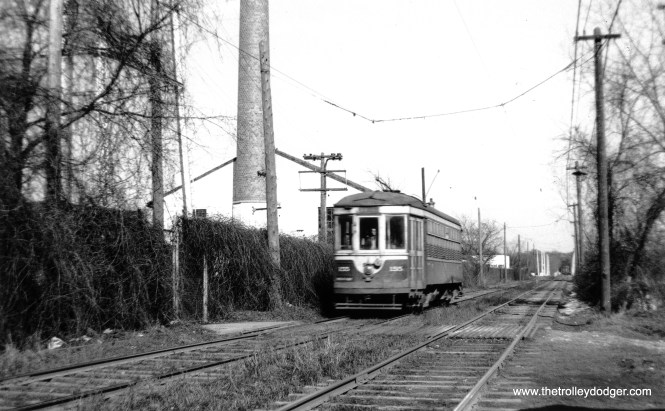 "C&WT 155 on private right-of-way west of the Brookfield Zoo on April 11, 1948, on the CERA ""day after abandonment"" fantrip. (John F. Bromley Collection)"