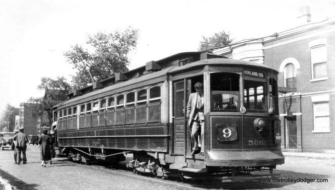 CSL 5660 on through route 9 - Ashland in 1941. Paraphrasing Don's Rail Photos, 5660 was built by Kuhlman Car Co in June 1907 (order) #350 for the Chicago & Southern Traction Company. It was purchased and rebuilt as Chicago City Ry 5660 in 1912 and became CSL 5660 in 1914. (Stephen D. Maguire Photo)