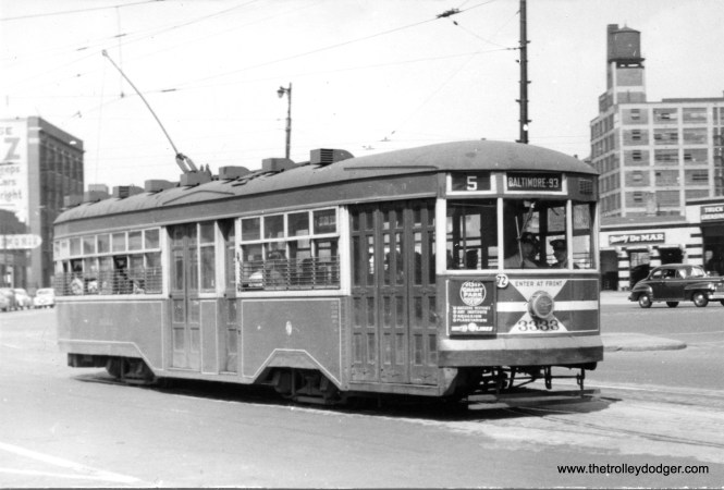 CTA 3333 on route 5 in the summer of 1949. (R. O. Johnstone Photo)