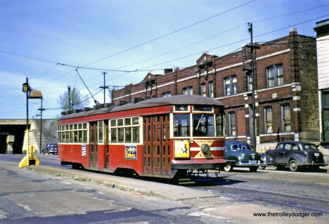 CTA Sedan 3377, showing the original door configuration, southbound on Cottage Grove at 95th Street on May 6, 1951. (John D. Koschwanez Photo, John F. Bromley Collection)