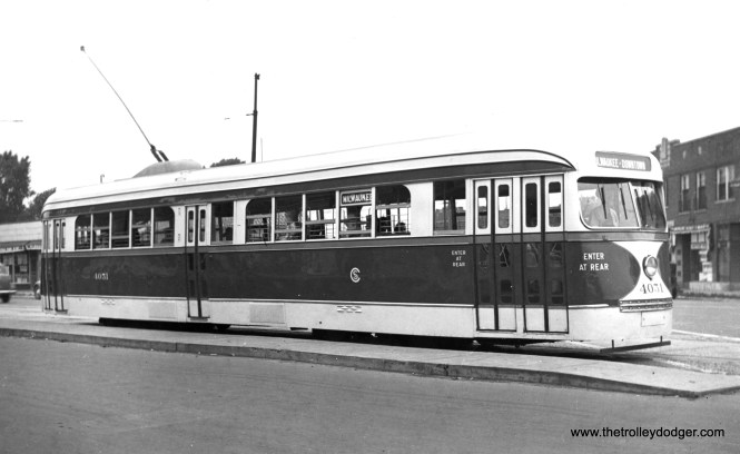 CSL 4051 at Milwaukee and Central on August 4, 1940, during the door arrangement test. This was the only PCC to run in regular service on route 56 - Milwaukee. (Frank E. Butts Collection)