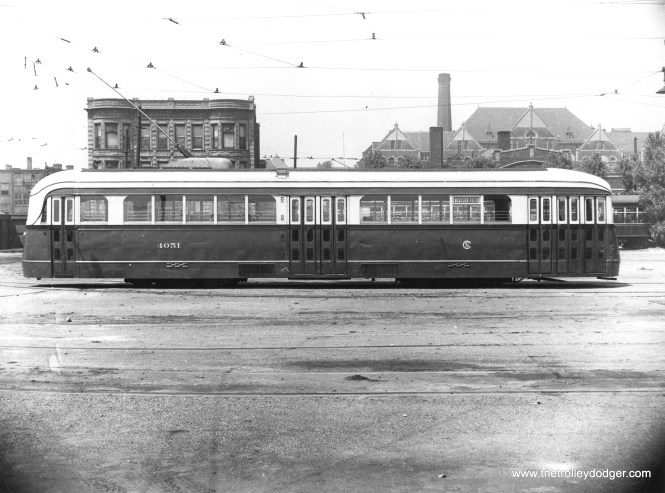 CSL 4051 at Kedzie and Van Buren on May 24, 1939. This is part of a series of photos of this car taken by CSL, possibly in preparation for the experimental modification of the doors on this car in 1940-41. This car helped determine the door arrangement used on the postwar PCCs. You will find another picture from this series in one of our earlier posts.