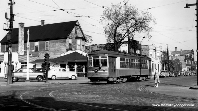 CSL 3304 is heading westbound at Armitage and Cicero on route 73. This picture was originally identified as being at Grand, but the buildings do not match up, and there actually was no direct track connection between the Armitage and Grand streetcar lines. (Joe L. Diaz Photo)