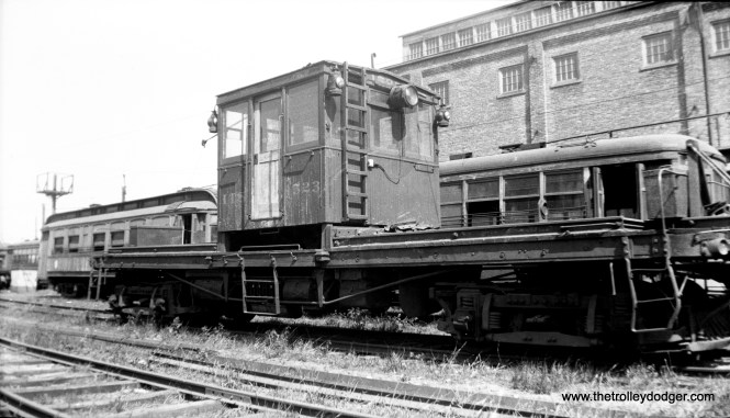 "CO&P freight motor 1523 at the Ottawa shops in 1934. This was a so-called ""pull car"" that was used as a locomotive."