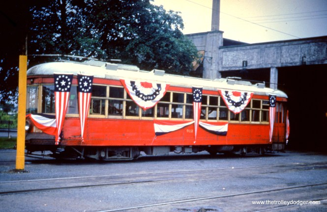 LVT 912, dressed in bunting at Fairview car barn for the last run of an Allentown streetcar, on June 7 1953.