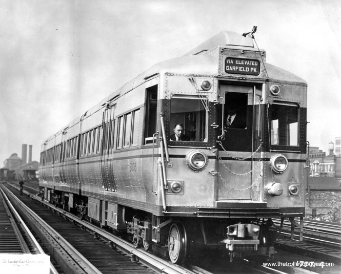"CTA 5003 on the Met ""L"" near Throop Street Shops in 1948. (St. Louis Car Company Photo)"