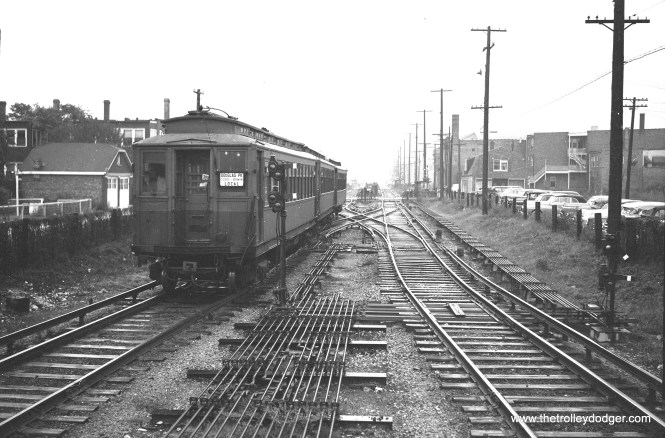 "A Douglas Park local at the west end of the line at Oak Park Avenue in Berwyn, circa 1950. This is before A/B ""skip stop"" service began on this route, which was soon cut back to 54th Avenue, its present terminus."