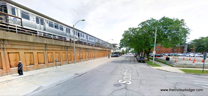 "South Boulevard and Maple in Oak Park today. The Lake Street ""L"", today's Green Lin, was relocated to the Chicago & North Western embankment in 1962. That's the Harlem station at left, which has its main entrance at Marion Street."