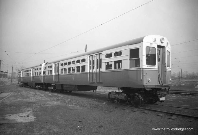 """CTA rapid transit cars 6199-6200, also known as """"flat door"""" PCCs, were the final pair built with all-new parts before the wholesale recycling of Chicago's PCC streetcar fleet began. (St. Louis Car Company Photo)"""