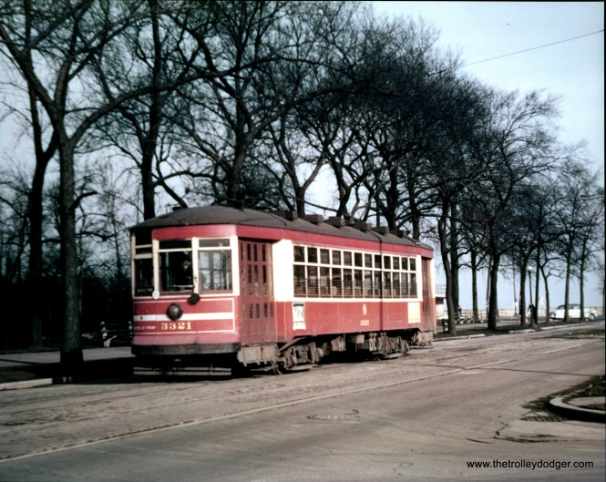 "CTA 3321 at Chicago's lakefront in the early 1950s. Andre Kristopans: ""3321 is on 67th just west of Oglesby. LSD in background."""