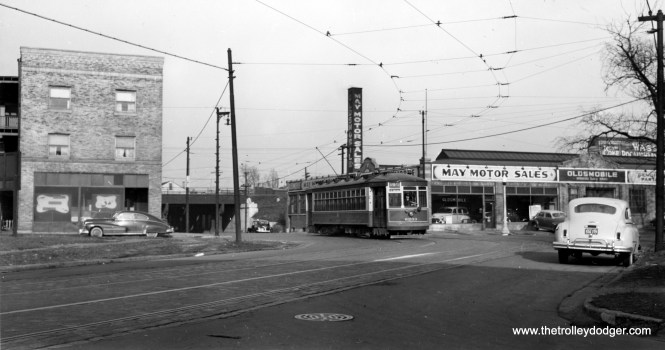 """CTA 6233 on the 67-69-71 route. May Motor Sales had two locations, and this one is 501 E. 69th Street. If so, this is where the Chicago Skyway runs today. (Joe L. Diaz Collection) Andre Kristopans: """"6233 is westbound, so indeed this is Keefe/Anthony/69th right were the Skyway now is."""""""