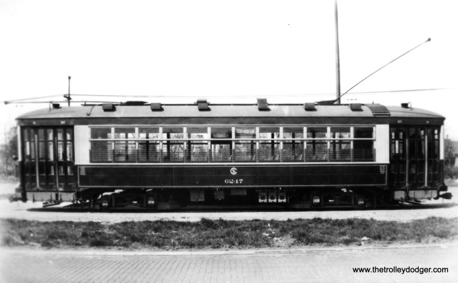 """CSL 6247 at South Shops, signed for Halsted-Archer-Clark. This was another Multiple Unit type car. Don's Rail Photos says, """"6247 was built by Brill Car Co in 1926, #22417. It was rebuilt as one man service in 1932. It was returned as two man service in 1948 and back to one man in 1949."""" (Chicago Surface Lines Photo)"""