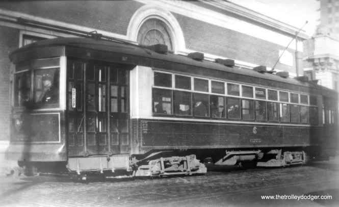 """CSL 6222 at Clark and Chicago. (George Krambles Photo, Edward Frank, Jr. Collection) Another Multiple Unit type car, Don's Rail Photos says, """"6222 was built by Lightweight Noiseless Streetcar Co in 1924. It was rebuilt as one man service in 1932."""""""