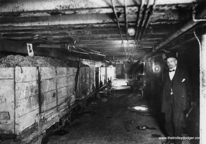 An ash car train in the Marshall Field & Co. boiler room on February 16, 1915.