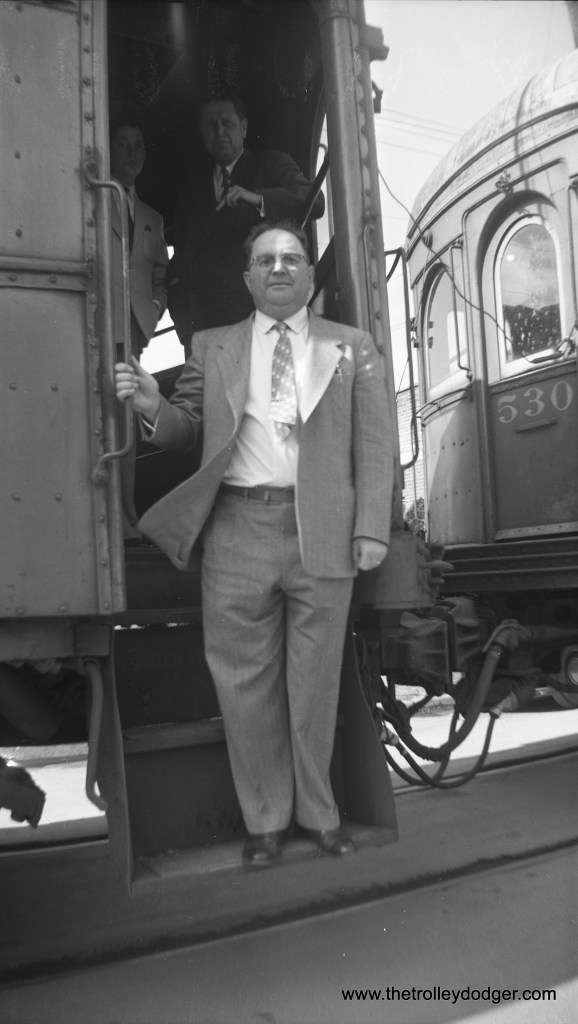 My guess is that this picture shows the final interurban run on the Illinois Terminal, and this man may be the president of the railroad. If so, the date is March 3, 1956. (Glenn L. Sticken Photo) There is another photo of that same train, taken by the same photographer, in our earlier post Historic Chicago Buses, Part Three (November 23, 2015). Update: The young man at rear in the photo (Carter Morris, Sr.) informs me that the man in the foreground is none other than Maury Klebolt (1930-1988), head of the Illini Railroad Club, who organized many fantrips in the 1950s (and who later helped start the San Francisco Trolley Festival). The man standing behind him is Howard B. Morris (1909-1993), his father.