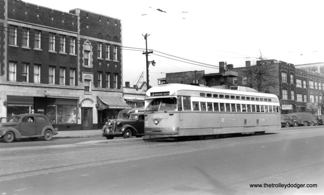 CSL PCC 4062, the first postwar car delivered, heads west on Madison just east of Laramie, probably in the fall of 1946. (Joe L. Diaz Photo)