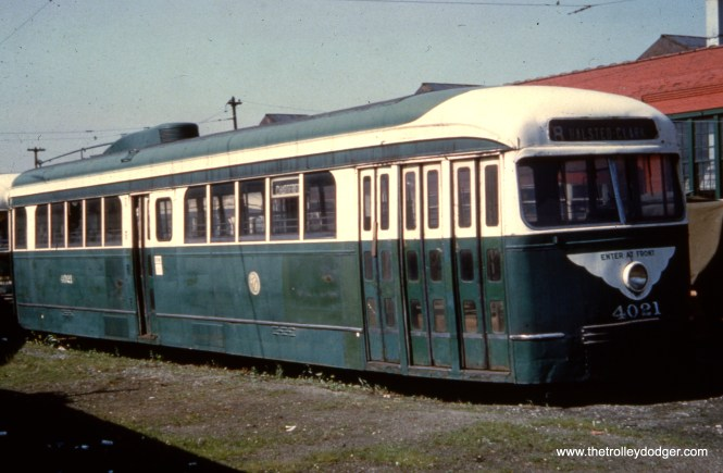 CTA prewar PCC 4021, last survivor of its type, in dead storage at South Shops in the late 1950s. This car is now preserved at the Illinois Railway Museum.