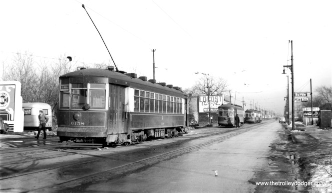 "CSL 6158 and followers at Devon and Kedzie. Don's Rail Photos says, ""6158 was built by CSL in 1923. It was rebuilt as one-man in 1949."" This was another Broadway-State car. (Joe L. Diaz Photo)"
